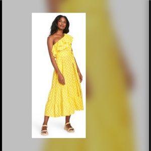 Lisa Marie Fernandez Yellow Polka Dot Midi Dress